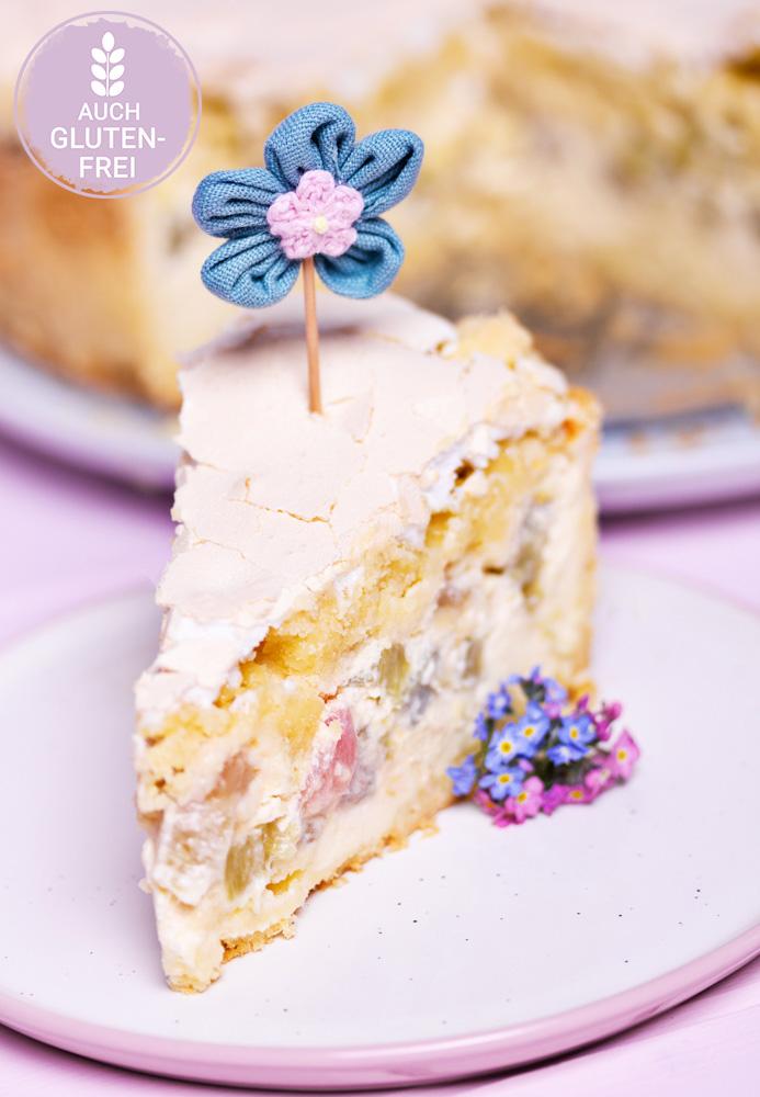 Rhabarber-Rahm-Kuchen mit Streusel & Baiser